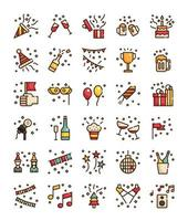 set of filled outline party celebration icons vector