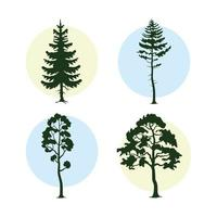 bunsle of four trees plants forest silhouettes vector