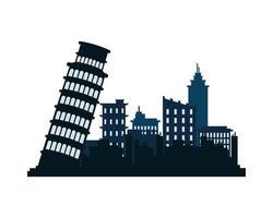 pisa city architecture silhouette icon vector