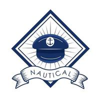 hat nautical label vector