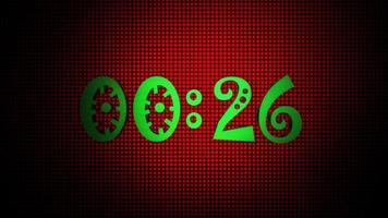 lueur verte 30 à 0 seconde compte à rebours numérique sur fond numérique de grille rouge. video