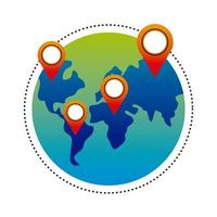 delivery service pins locations in earth map vector