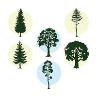 bunsle of six trees plants forest silhouettes icons vector