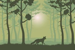 trees plants and fox in green forest landscape scene vector
