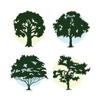 bunsle of four trees plants forest silhouettes icons vector