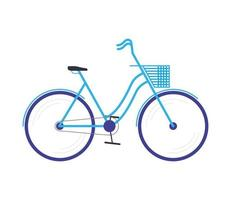bicycle with basket sport isolated icon vector