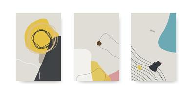 Set of three abstract backgrounds. Hand drawn style various shapes and doodle objects. Contemporary modern trendy vector illustrations. Every background is isolated.