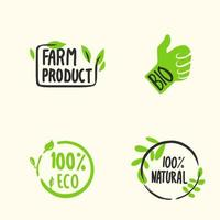 Organic labels. Fresh eco vegetarian emblems, vegan label and healthy foods logo. Sticker or ecological product stamp. Organic labels. Eco-friendly vegetarian emblem, vegan label and healthy food logo vector