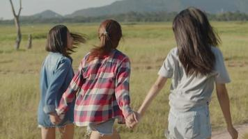 Group of young Asian women traveling together video