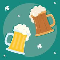beers jars drinks wooden and glass icons vector