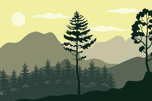 pines trees plants in forest landscape scene vector