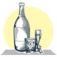 bottle wine and cup with glass hand draw style icon vector