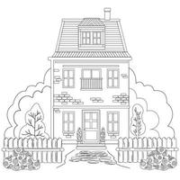 Coloring black and white drawing antistress. House on two floors with a balcony, fence and greenery around, bushes with flowers. Vector illustration for coloring, isolated on white background
