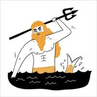 Sea God Poseidon Neptune suitable for icons, lgods, beliefs, antiquity, superstitions vector
