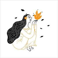 A beautiful girl with long hair is teasing with a little bird. vector
