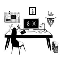 Home office, workplace. Work from home. Vector illustration, doodles. Interior. Office desk, computer, notebook, lamp, folder with paper, chair, mood board. Vector illustration, doodles.
