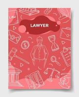 lawyer jobs profession or career with doodle style vector