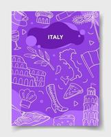italy country nation with doodle style vector