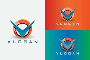 The letter V pierces the donut shape vector