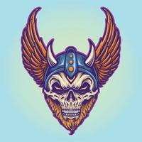 Warrior Viking Helmet Horns Wings Illustrations vector