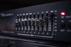 Graphic equalizer controls on an audio system photo