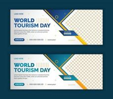 World tourism day web banner template design vector