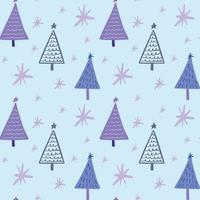 Cute winter season holiday childish seamless pattern with minimalist hand drawn Christmas tree doodle. Beautiful New Year children naive background design, textile print. vector
