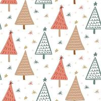 Cute Boho winter season holiday childish seamless pattern with minimalist hand drawn Christmas tree doodle. Beautiful New Year children naive background design, textile print vector