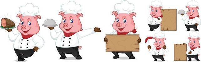 Vector Illustration of Cute pig cartoon. Pig Chef Baker Cartoon Character