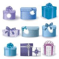 Christmas gift boxes on white background. Vector illustration