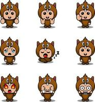 mascot costume expression bundle set beaver cartoon character vector illustration