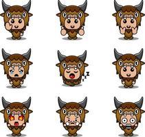 Buffalo cartoon character illustration vector mascot costume bundle set expression