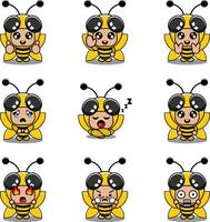 mascot costume expression bundle set bee cartoon character vector illustration