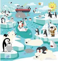 North pole winter arctic animals landscape vector