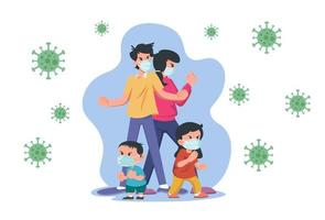 family wearing mask for protection vector