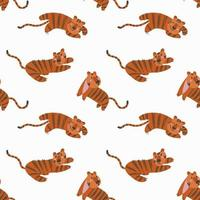 Seamless pattern with simple cute tiger cubs on a white background vector