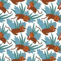 Seamless pattern with simple cute tiger cubs and plants on a white background vector