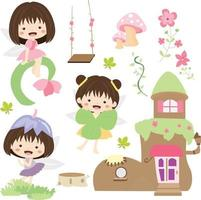 Cute Fairies Flower in Clipart Collection vector