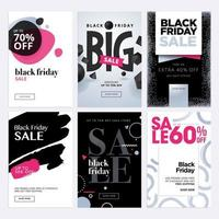 Black Friday sale banners vector