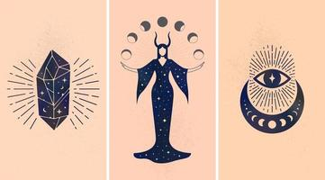 Set of black mystic ornaments depicted on beige background as symbols of magic and astrology. vector