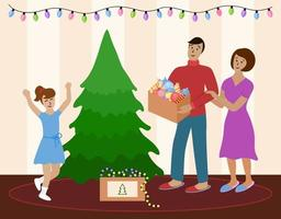 Family decorates Christmas tree together. Mom, dad and child daughter are going to prepare for celebration of Christmas and New year. Home holidays concept. Happy parents and girl have fun. vector