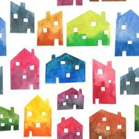 Watercolor houses seamless pattern texture background City design architecture buildings Simple Scandinavian style vector