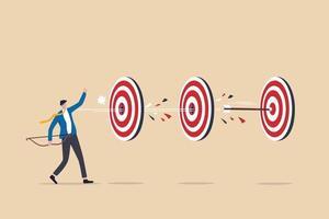 completado múltiples tareas con una sola acción, ventaja comercial o eficiencia para el éxito y lograr muchos objetivos con un pequeño esfuerzo, el tiro con arco de empresario inteligente acertó en múltiples diana con una sola flecha. vector