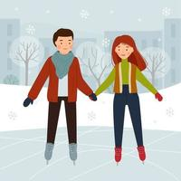 Couple on the skating rink in the park. Boy and girl ice skating. Winter fun. vector