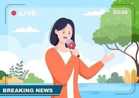 Breaking News Reporter Background Vector Illustration With Broadcaster or Journalist Going Live