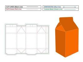 líneas de troquelado de caja de leche, render 3d y caja de cartón de leche, color modificable y editable, embalaje de caja de leche vector