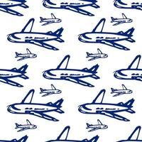 airplane doodle - seamless pattern. passenger airlines - color illustration in flat style vector