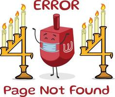 Hanukkah themed 404 error message. Oops page not found. Page Missing coming soon error message. Spinning the dreidel game cute character. vector