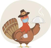 Thanksgiving Turkey wearing face mask while cooking. Cute Turkey character for children's book. Fall background with leaves falling and earth tone colors. Turkey character holding a pumpkin. vector