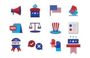 conjunto de iconos de elecciones generales de EE. UU. vector